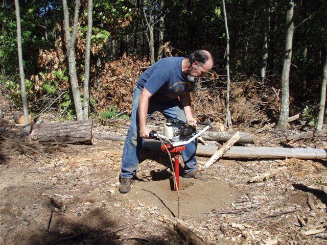 Bill Frey Drilling the Last 4th Circle Post Holes 2