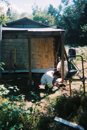 Justin Armstrong building the woodshed