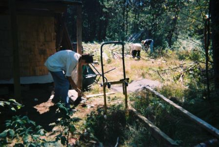 Justin Armstrong building the woodshed 2