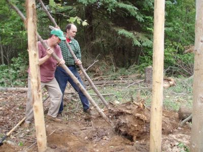 Forest Woodhenge - Jimmy Ayers & Bill Frey Working the Big Stump