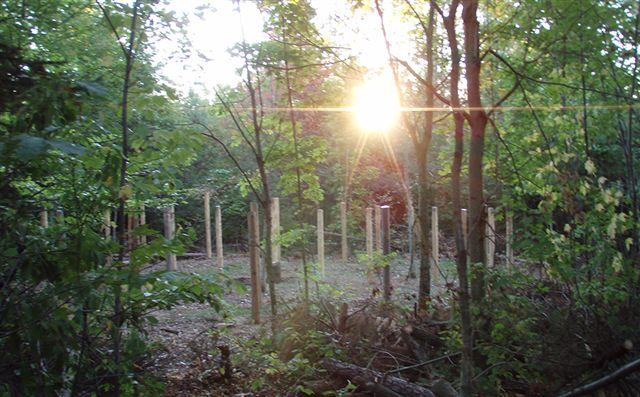 Sunrise at the Woodhenge on the Equinox