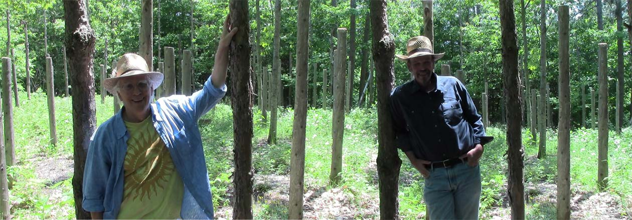 Robin Armstrong and Bill Frey at Forest Woodhenge for the Summer Solstice 2013