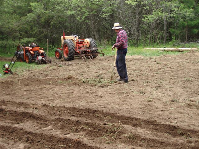 Bill Frey pulling weeds the tractors missed.