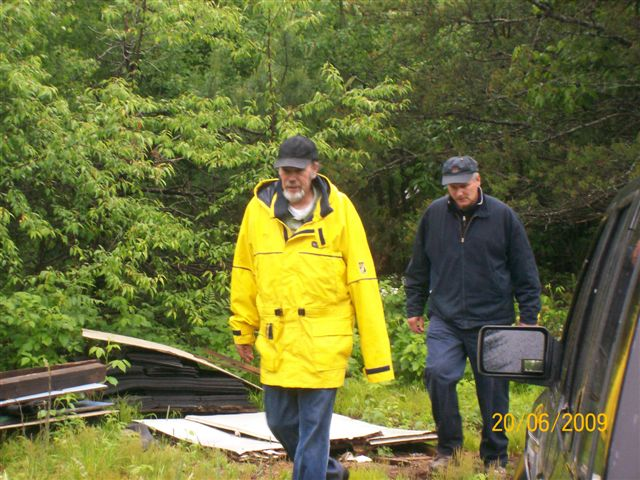 Bill Frey and  Peter Heck returning to the Cabin