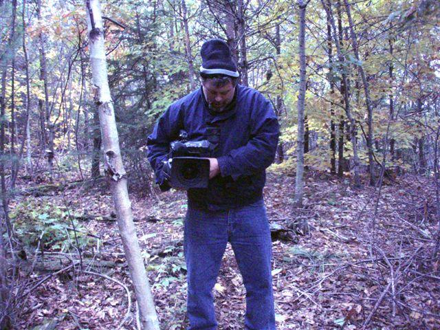 Forest Woodhenge: Peter Elliott filming (2)