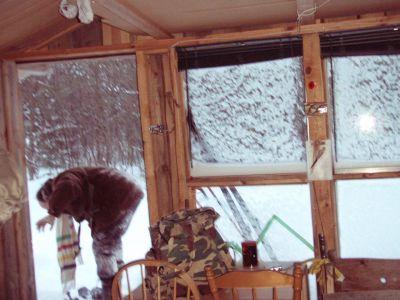Forest Woodhenge - Frost on Cabin's Windows!